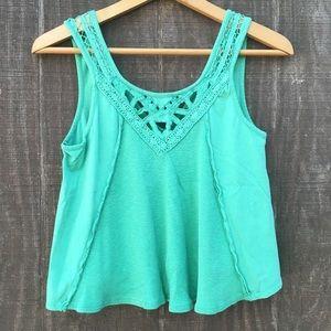 Free People Green Boho Crochet Lace Crop Tank XS